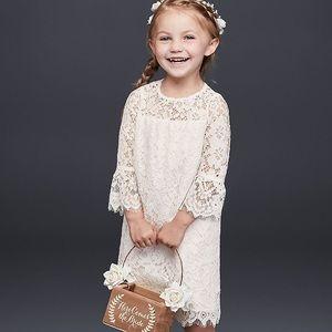 David's Bridal Lace Boho Flower Girl Dress